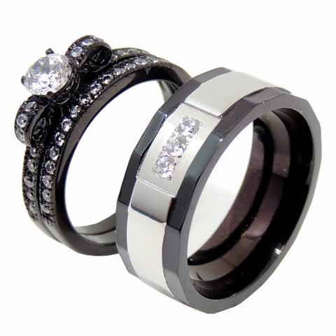 Couples Ring Set Womens Black Anniversary Ring Mens 3 CZ Two Tone Wedding Band - LA NY Jewelry