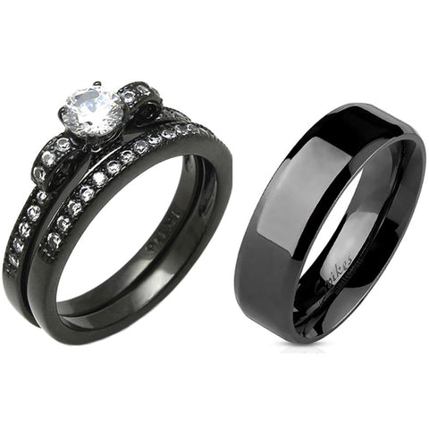 3 PCS Couple 5x5mm Round Cut CZ Black IP Stainless Steel Wedding Set Mens Flat Band