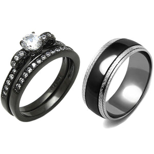 3 PCS Couple 5x5mm Round Cut CZ Black IP Stainless Steel Wedding Set Mens Matching Band
