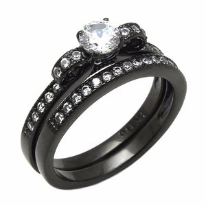 0.4 Ct Small Round Cut CZ Black IP Stainless Steel 2 Pieces Engagement RINGS SET - LA NY Jewelry