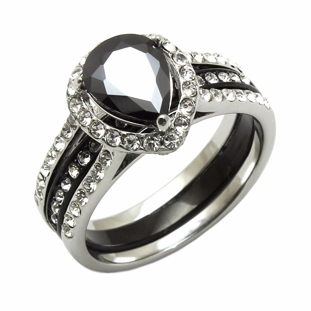 9x7mm black pear cut cz two tone black stainless steel wedding ring set - Stainless Steel Wedding Ring Sets