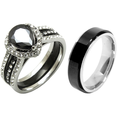 3 PCS Couple Pear Cut Black CZ Black IP Stainless Steel Wedding Set Mens Matching Spinning Band