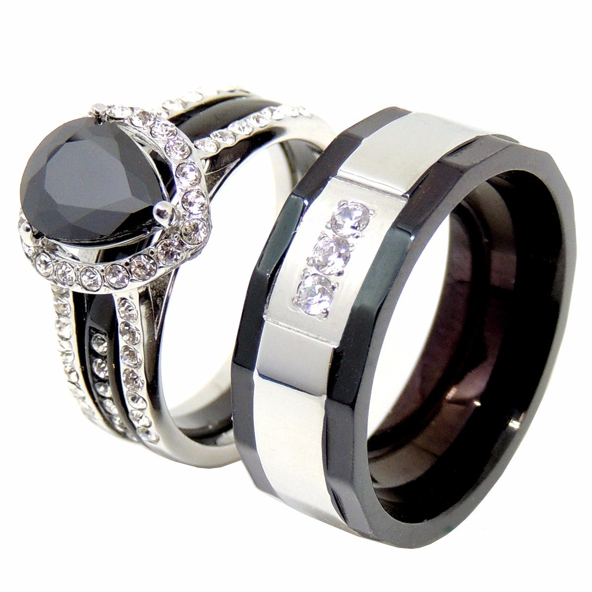 His Hers Couples Ring Set Womens Black Pear CZ Wedding Ring Mens 3 CZ Two Tone Band - LA NY Jewelry