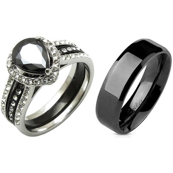 3 PCS Couple Pear Cut Black CZ Black IP Stainless Steel Wedding Set Mens Flat Band