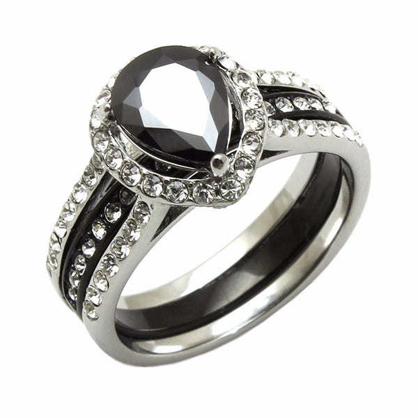 3 PCS Couple Pear Cut Black CZ Black IP Stainless Steel Wedding Set Mens Matching Band - LA NY Jewelry