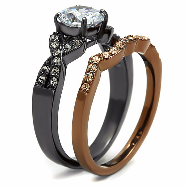 Womens Round Cut CZ in Light Black & Light Coffee IP Stainless Steel 2 RINGS SET - LA NY Jewelry