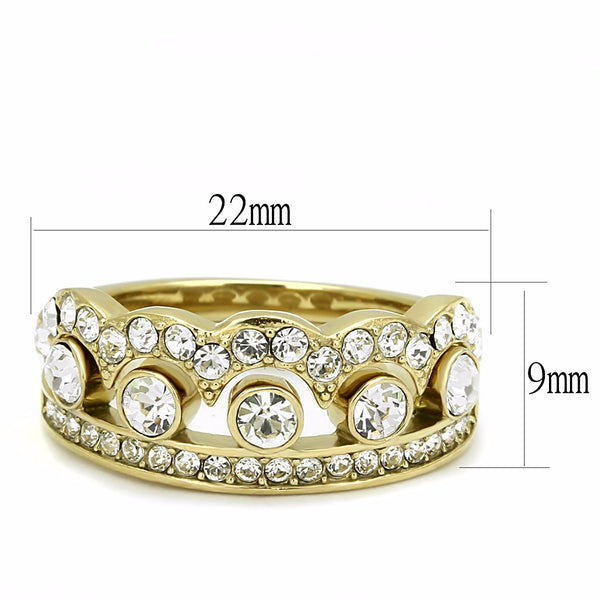 Womens Crown Style Top Grade Crystal in Gold IP Stainless Steel 2 Ring Set - LA NY Jewelry