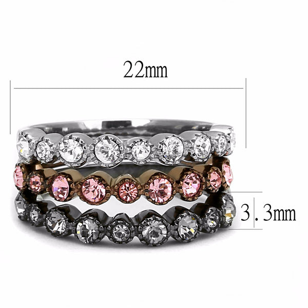 Top Grade Crystal in 3 Colors Light Black, Light Coffee, Silver IP Stainless Steel 3 Bands Set - LA NY Jewelry