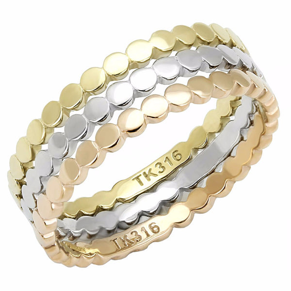Womens 3 Colors Gold, Rose Gold, Silver IP Stainless Steel 3 Bands Set - LA NY Jewelry