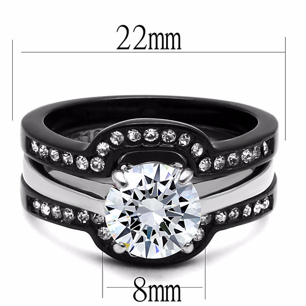 His Hers Couple Ring Set Womens Round CZ Wedding Two Tone Ring Set Mens Matching Band