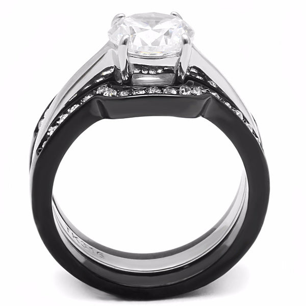 His Hers Couple Ring Set Womens Round CZ Anniversary Two Tone Ring Set Mens Spinning Band