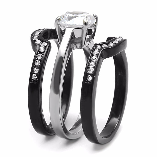 His Hers Couple Ring Set Womens Round CZ Anniversary Two Tone Ring Set Mens 3 CZs Band