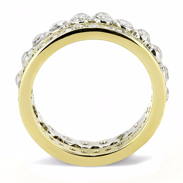 Womens Gold IP Two-Tone Stainless Steel 2 Round CZ All Around Bands Set - LA NY Jewelry