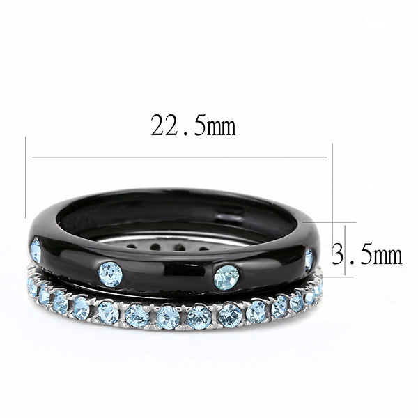Womens Black IP Two-Tone Stainless Steel Sea Blue CZ All Around Band Set - LA NY Jewelry
