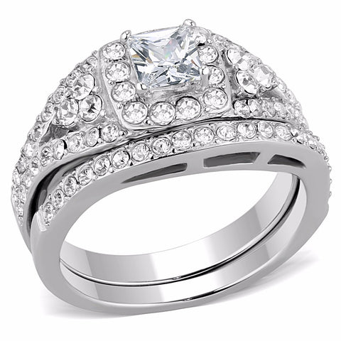 2 PCS Princess CZ Center Top Grade Crystal Surround Stainless Steel Ring Set - LA NY Jewelry