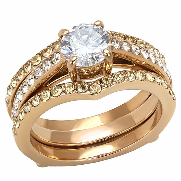 Clear CZ Center with Clear & Champagne Crystal Rose Gold IP Stainless Steel Ring Set - LA NY Jewelry