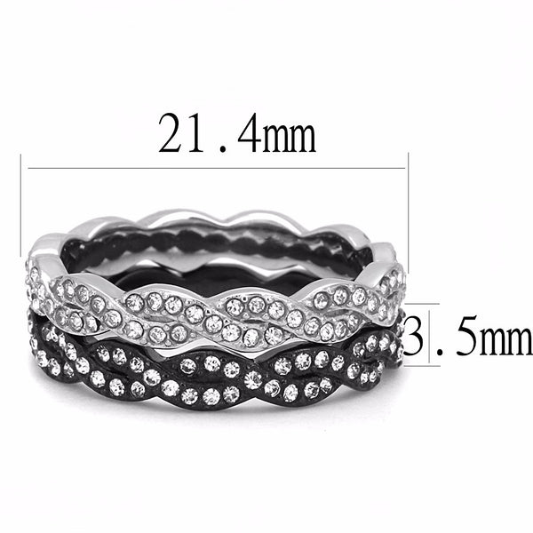 Womens Black IP Two-Tone Stainless Steel Top Grade Crystal All Around 2 Band Set - LA NY Jewelry