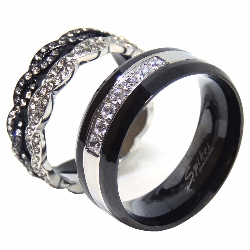 His Hers Ring Set Womens Two Tone Stainless Steel 2 Band Set Mens Two Tone Band