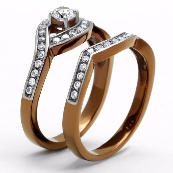 4x4mm Clear CZ Center Two-Tone Light Coffee IP Stainless Steel Wedding Ring Set - LA NY Jewelry