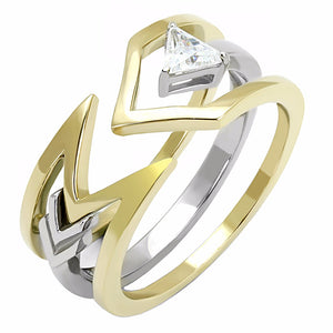 4x4mm Triangle Cut Solitaire CZ Two-Tone Gold IP Stainless Steel 2 Rings Set - LA NY Jewelry