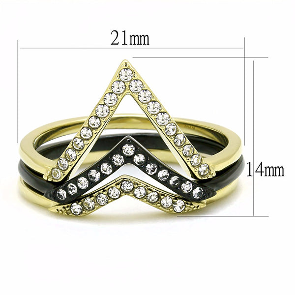 Womens Mix and Match Stackable Gold and Black IP Stainless Steel 3 Bands Set - LA NY Jewelry