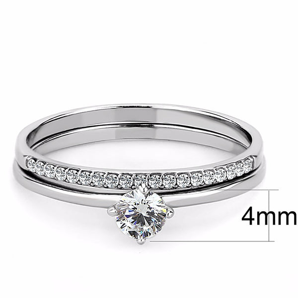 4x4mm Round Clear CZ Stainless Steel Small Delicate Band Wedding Ring Set - LA NY Jewelry