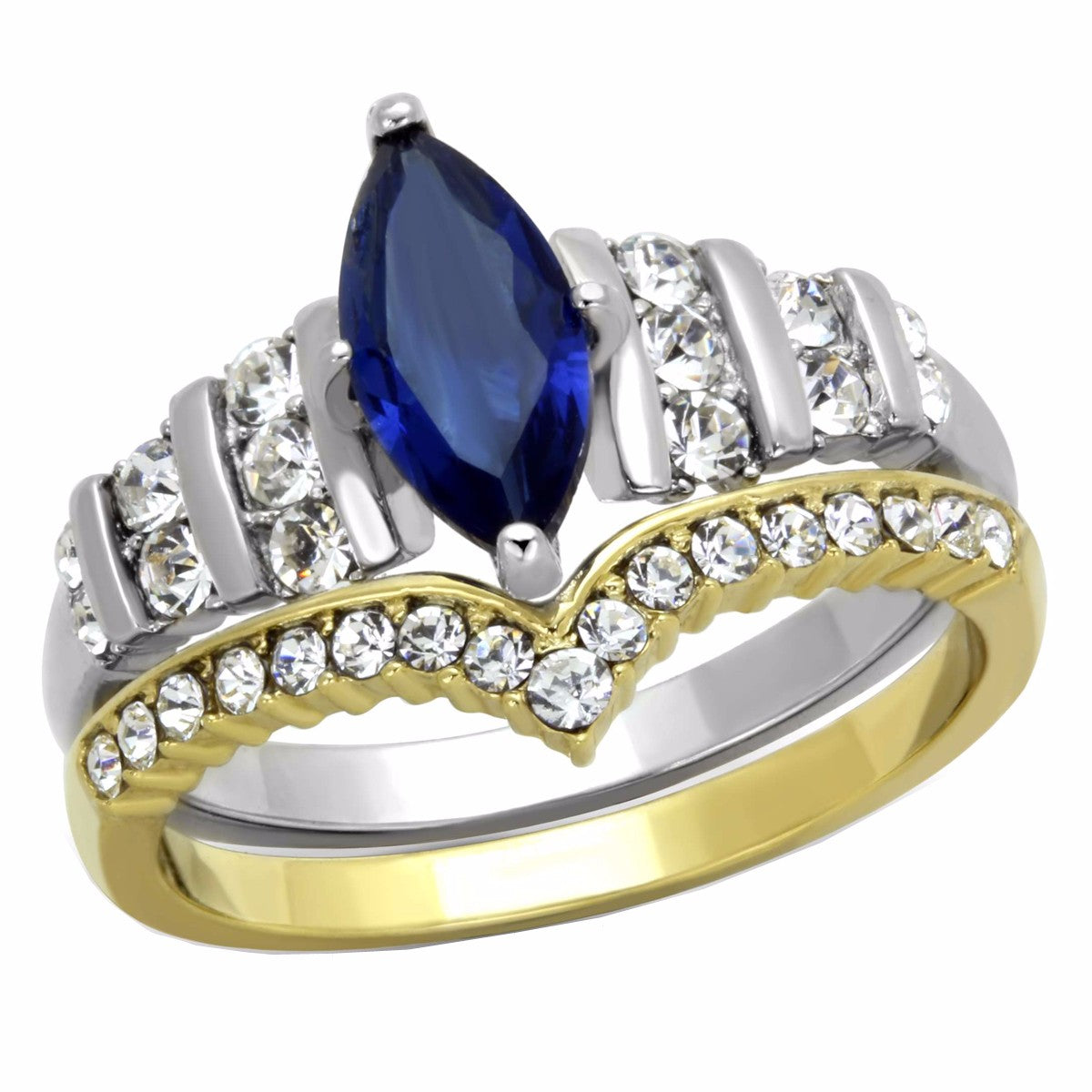 Womens Marquise Cut Sapphire CZ Two Tone Gold Stainless Steel Wedding Ring Set - LA NY Jewelry
