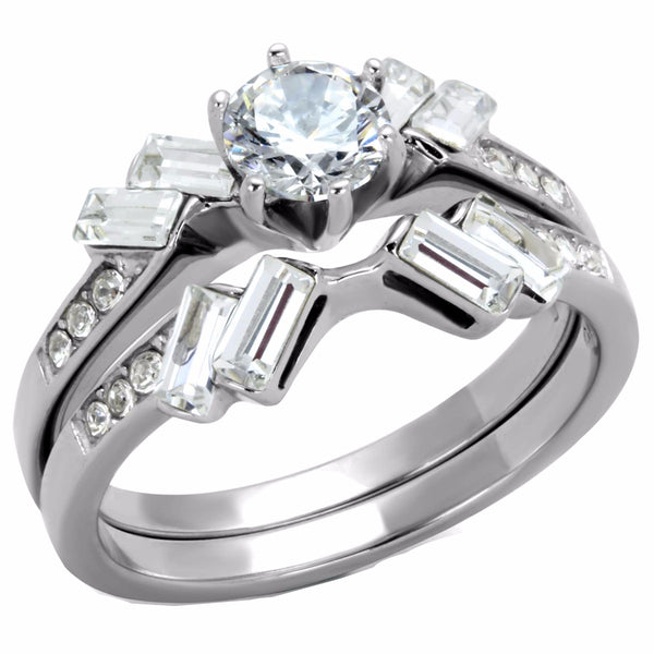 Womens 5x5mm Round Cut CZ Center Stainless Steel Engagement 2 Ring Set - LA NY Jewelry