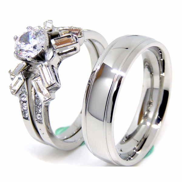 Couple Rings Set Womens 5x5mm Round CZ Wedding Ring Mens Engagement Band - LA NY Jewelry