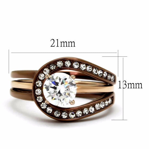 6.5x6.5mm Round CZ Two Tone Rose Gold and Light Coffee IP Stainless Steel Ring Set - LA NY Jewelry