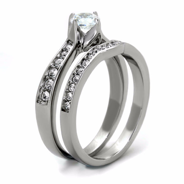 Womens 5x5mm Round Cut Clear CZ 316 Stainless Steel Wedding 2 Ring Set - LA NY Jewelry