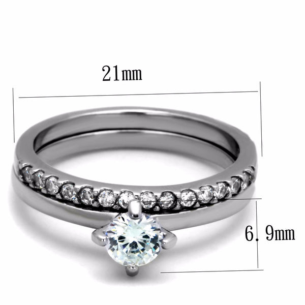 Womens 5x5mm Round CZ center solid Stainless Steel Wedding 2 Ring Set - LA NY Jewelry
