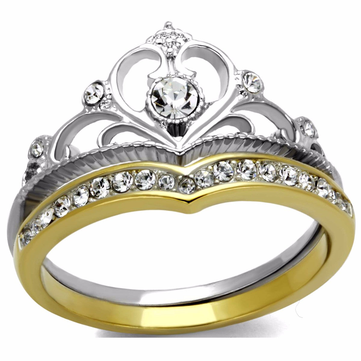 Womens 3.5x3.5mm Round CZ Two-Tone Gold IP Stainless Steel Crown 2 Ring Set - LA NY Jewelry
