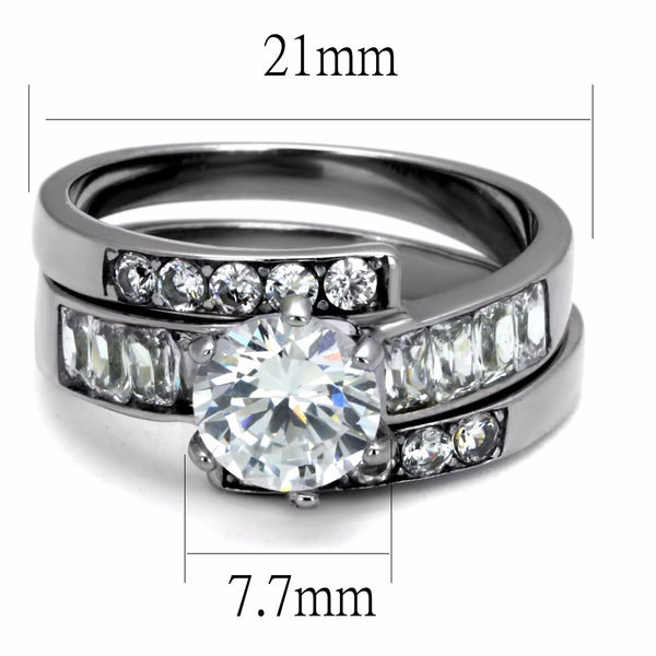 Womens 7x7mm Round Cut CZ Center Stainless Steel Wedding 2 Rings Set - LA NY Jewelry