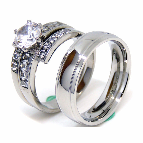 Couple Rings Set 3 PCS Womens 7x7mm Round CZ Wedding Ring Mens Engagement Band - LA NY Jewelry