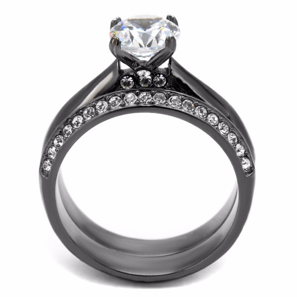 Womens 7x7mm Round Cut CZ Light Black IP Stainless Steel Wedding 2 Rings Set - LA NY Jewelry