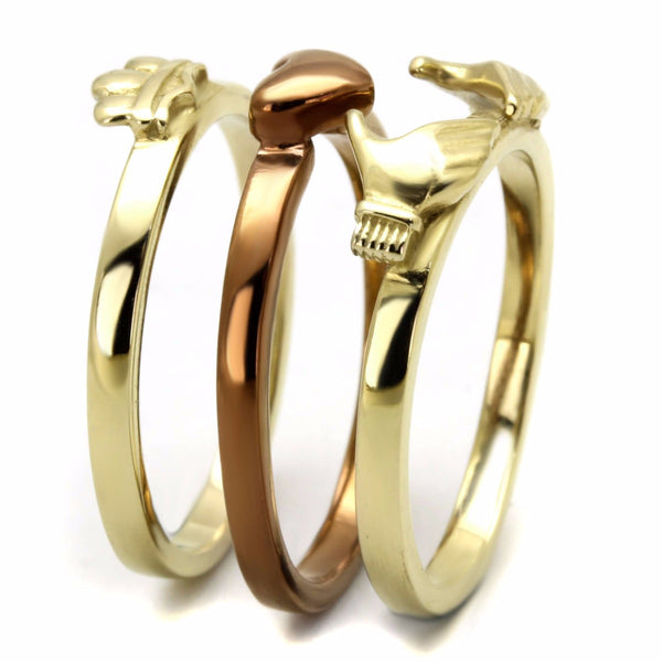 Womens Two-Tone IP Gold & IP Light Brown Stainless Steel Claddagh 3 Rings Set - LA NY Jewelry