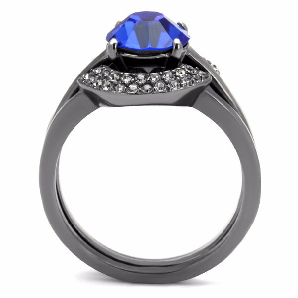 Womens 8x8mm Round Cut Sapphire CZ Light Black IP Stainless Steel Wedding 3 Ring Set - LA NY Jewelry