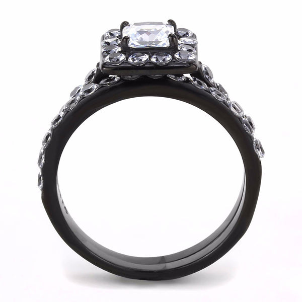 His Hers Ring Set Womens Princess Square CZ Bridal Ring Mens 7 CZs Wedding Band - LA NY Jewelry