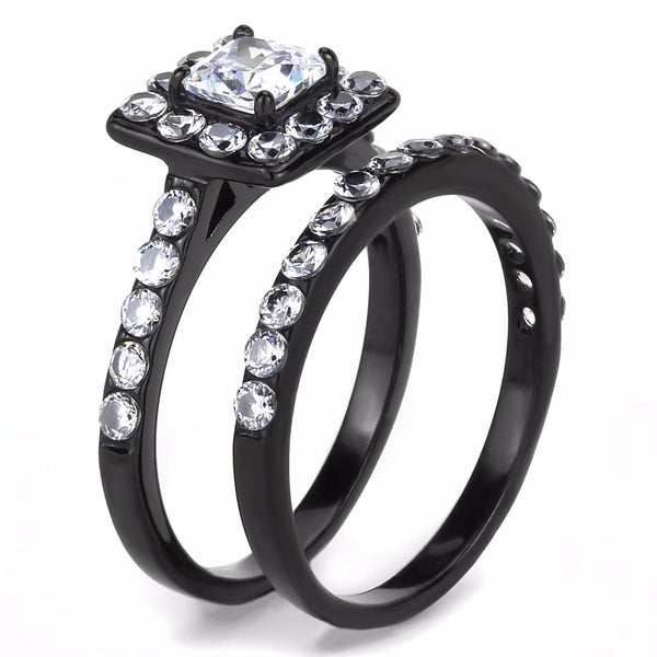 5x5mm Princess Cut CZ Center with 2.5mm Round CZ Side Black IP Stainless Steel Ring Set - LA NY Jewelry