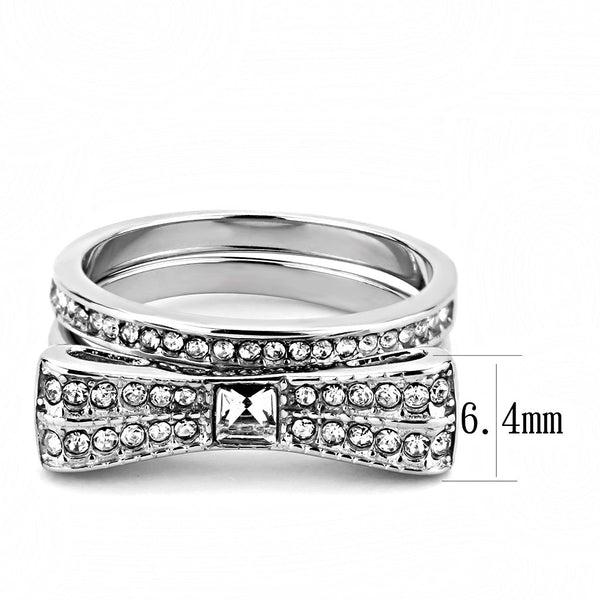 Womens 3x3mm Square CZ Center Bow Tie Style Stainless Steel Wedding 2 Rings Set - LA NY Jewelry