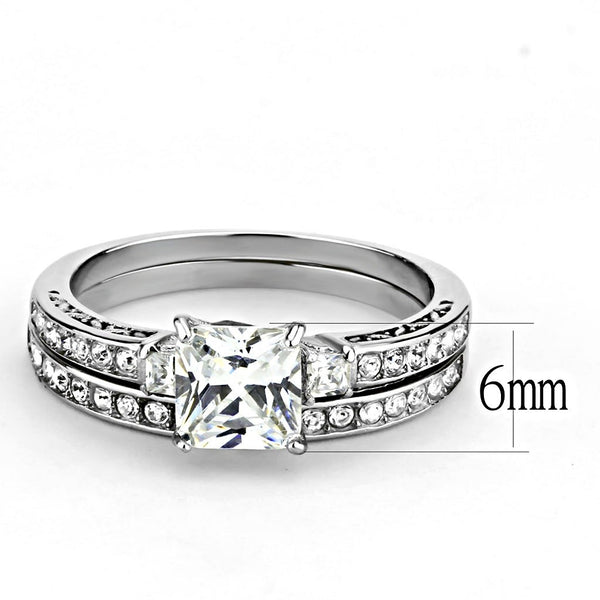 Womens 6x6mm Square CZ Center Luxury Style Stainless Steel Wedding 2 Rings Set  - LA NY Jewelry