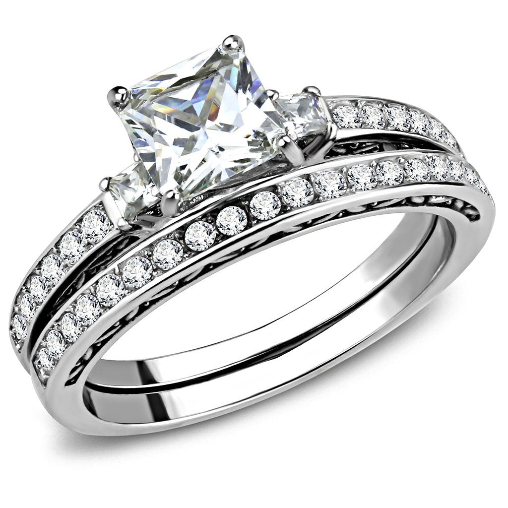 Round Cut CZ Stainless Steel Wedding Engagement Band Women/'s 2 Ring Set
