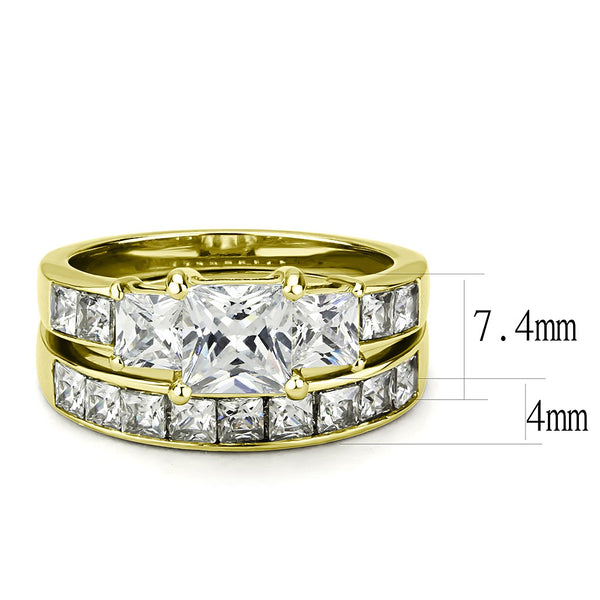 Couples Ring Set Womens 14K Gold Plated 3 Stone Type Engagement Ring Mens Gold Plated Flat Wedding Band