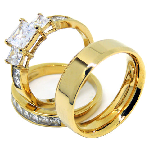 Couples Ring Set Womens 14K Gold Plated 3 Stone Engagement Ring Mens Gold Flat Wedding Band