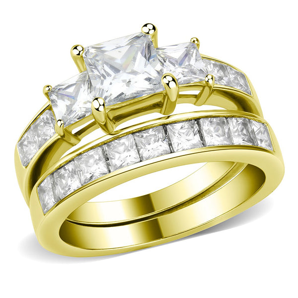 3 Stone Type 6mm Princess CZ 14K Gold Stainless Steel Wedding Ring Set