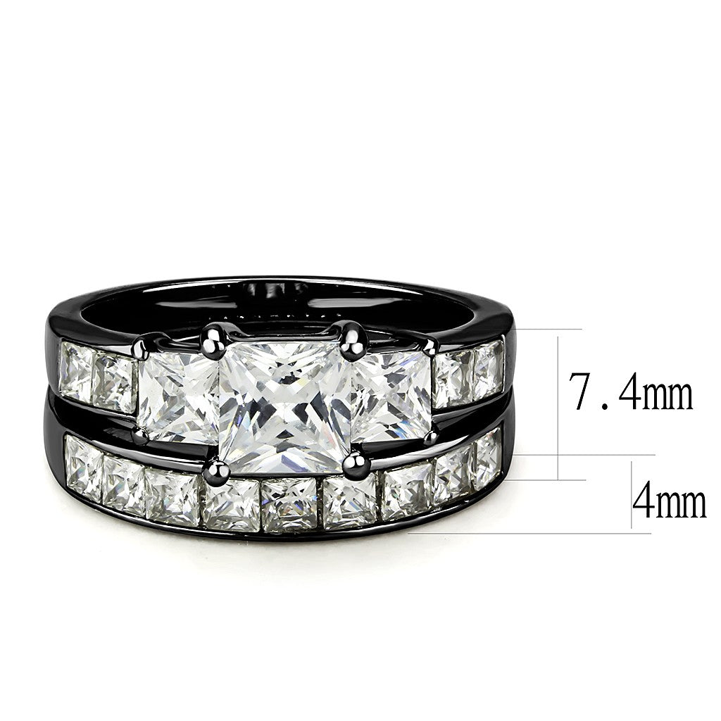 a63dd21034873 Couple Rings Black Set Womens 3 Stone Princess CZ Stainless Steel 2 Rings  Mens Matching Band