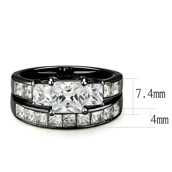 Couple Rings Black Set Womens 3 Stone Princess CZ Stainless Steel 2 Rings Mens Matching Band