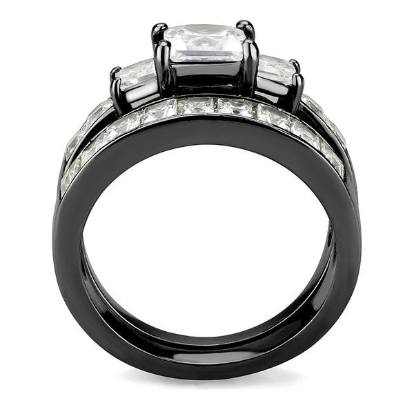 Couples Rings Black Set Womens 3 Stone Type Princess CZ Engagement Ring Mens Two Tone Band
