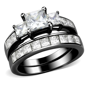 3 Stone Type 6mm Princess CZ Black IP Stainless Steel Wedding Ring Set
